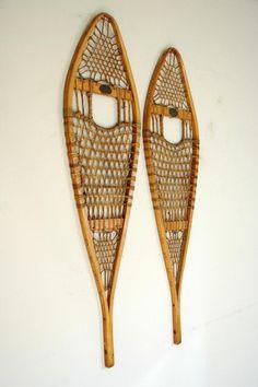 "Vintage Abercrombie and Fitch Co. Snowshoes  c. 1920's - 30's, 20th century  Wood, Babiche, Metal (nails)  40.25""l x 11""w x 1""h  © Vintage Winter"