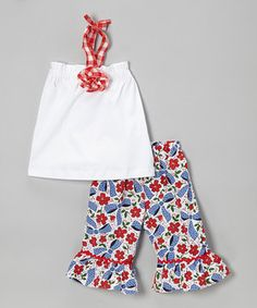 Red Cherry Zoe Halter Top & Capri Pants - Infant, Toddler & Girls by Castles & Crowns #zulily #zulilyfinds