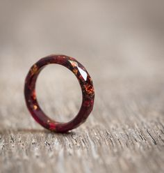 Thin Marsala Resin Ring Stacking Ring Copper Gold Flakes Small Faceted Skinny Ring OOAK Burgundy Red geometric jewelry by daimblond on Etsy https://www.etsy.com/listing/260166416/thin-marsala-resin-ring-stacking-ring