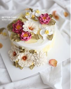 Done by me / BETTER CAKE Beanpaste Flower cake www.better-cakes.com  U can…