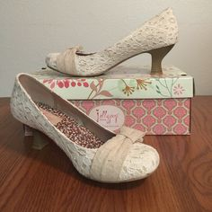 d58831fd35ccf3 Jellypop kitten heel Jellypop kitten heel with lace and bow detail. In  shades of cream