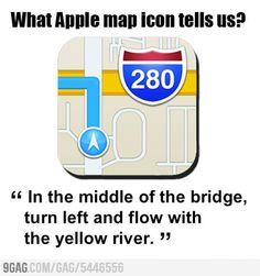 What Apple map icon tells us Yellow River, Map Icons, Apple Maps, Funny Memes, Hilarious, Best Funny Pictures, I Laughed, Fun Facts, Haha