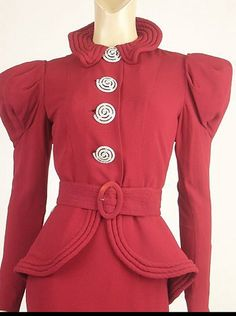 Fabulous Red Peplum Suit circa 1930's