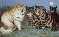 Louis Wain Cat Print Art - Pretty Kittens meeting in the Moonlight! by Victorianaprint on Etsy https://www.etsy.com/listing/203125689/louis-wain-cat-print-art-pretty-kittens