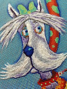 It's not your Grandmother's Needlepoint: The Star of the Show - fun! Types Of Embroidery, Cross Stitch Embroidery, Hand Embroidery, Cross Stitch Patterns, Embroidery Designs, Needlepoint Stitches, Needlework, Ribbon Crafts, Lilo And Stitch