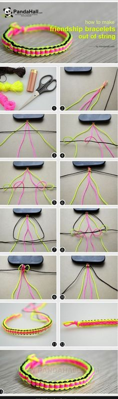 to make cool bracelets with string-Really easy friendship bracelet patterns!How to make cool bracelets with string-Really easy friendship bracelet patterns! Diy Bracelets With String, Diy Bracelets Easy, Bracelet Crafts, Jewelry Crafts, Handmade Jewelry, Macrame Bracelets, Diy Friendship Bracelets Tutorial, Jewelry Ideas, Diy Jute Bracelet