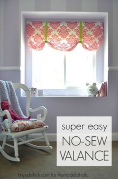 How to make a no sew valance from a crib sheet hanging curtains, diy curtai No Sew Curtains, No Sew Valance, Sewing Room Decor, Diy Window, Crib Sheets, Curtains Living Room, Diy Valance, Cheap Curtains, Valences For Windows