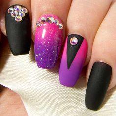 Neon Pink & Purple, Matte Black & AB Swarovski Crystal Press On Nails - Any Nail Shape