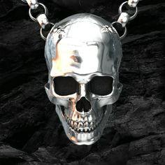 Skull pendant, handmade original sterling silver skull jewellery by London jeweller John Patrick. Unique skull pendant creations from a leading London based designer. Scary Wallpaper, Skull Wallpaper, Skull Jewelry, Skull Necklace, Geek Jewelry, Choker Necklaces, Gothic Jewelry, Silver Skull Ring, Skull Rings