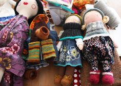 Love that she uses scrap fabric for the clothes and dolls.