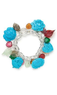 Jewelry Design - Bracelet with Magnesite Gemstone Charm, Drop and Focal, Chalk Turquoise Gemstone Drop and Glass Drops - Fire Mountain Gems and Beads