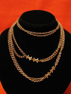 Vintage Heavy Gold Tone Double Chain Victorian Style by ditbge, $26.00