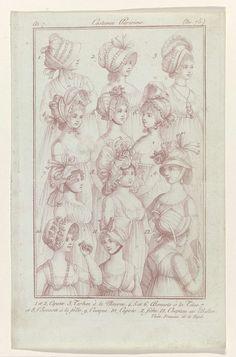 Journal des Dames et des Modes, Costumes Parisiens, 27 novembre 1798, An 7 (75 (bis)) : 1 et 2, Capotes. 3. Turban..., Anonymous, Sellèque, Pierre de la Mésangère, 1798