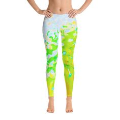 Custom Fashion Leggings for Women, Abstract Pincushion Flower in Yellow and Green Women's Fitness Workout Leggings, Yoga Leggings Floral Leggings, Women's Leggings, Colorful Leggings, Gothic Leggings, Workout Leggings, Workout Shirts, Printed Yoga Pants, Women's Fashion Leggings, Custom Leggings