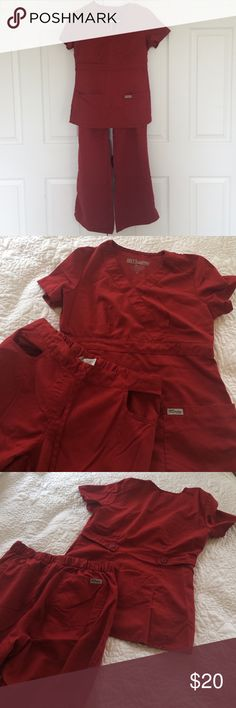 2 Piece Grey's Anatomy Scrub Set in Merlot 2 piece Grey's Anatomy Scrub Set in Merlot color. Top is classic v-neck size XS. Bottoms are 5 pocket drawstring flare leg size XS. Bottoms one side of drawstring is missing, does not affect quality or wear of scrubs. Grey's Anatomy Other