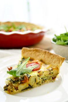 Kartoffel-Quiche mit Spinat, Ziegenkäse, Creme Fraiche, Thymian, gesunde Rezept