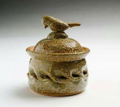 Clark House Pottery - Bill & Pam Clark - Lidded vessel with bird handle on lid - Green Spotted glaze