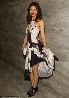 Delightful sight: Victoria Justice showed off her lean limbs in a flowing frock as she attended the Rebecca Minkoff fashion show with TRESemme during Mercedes-Benz Fashion Week Fall 2015 at The Pavilion at Lincoln Center in New York City on Friday