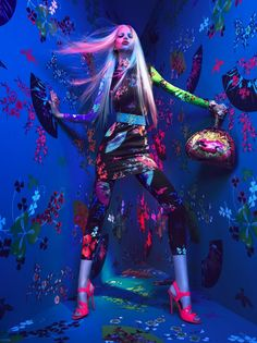 Versace Boom . Incredible photo shoot . artistic . colorful . floral pattern . Asian influence . fashion . design . awesome . photo inspiration . wall paper . glow . neon . luminous . black light .  Versace for H Campaign (by Mert & Marcus) photographs.