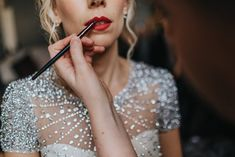 Red Lipstick for Winter Wedding Bride | By Bloom Weddings | Bridal Beauty | Bridal Makeup | Red Lipstick for Bride | Bridal Preparations | Embellished Wedding Dress | Winter Wedding | New Years Eve Wedding | Bridal Makeup For Green Eyes, Bridal Makeup For Brunettes, Yorkshire Wedding Photographer, New Years Eve Weddings, Wedding Bride, Wedding Dresses, Bridal Beauty, Bridal Hair Accessories, Wedding Planning