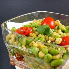 warm endamame corn salad