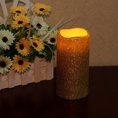 Home impressions Flameless Real Wax LED Pillar Candle with Timer and Goldenrod Glitter Powder >>> You can get additional details at the image link. #PillarCandle