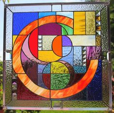 """Stained Glass Window Panel """"Cosmic Alignment"""" Original Dated Signed COA 