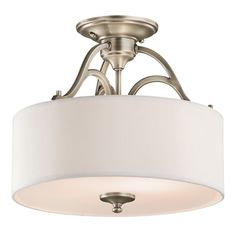 Sue, I saw what you pinned; here is another option as well that is similar...height might work as well.    Portfolio�14-in W Townsend Antique Pewter Fabric Semi-Flush Mount Light
