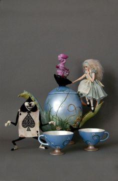ALICE IN WONDERLAND TEA SET - Nicole West Fantasy Art
