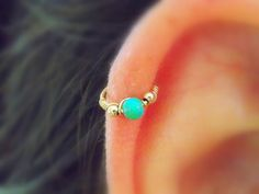 SMALL+Green+Opal+NOSE+RING+//+Ear+/+Cartilage+/+by+mypiercingshop