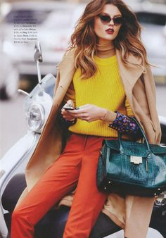 camel coat + colorful layers