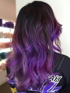 Brown hair with purple and pink balayage purple hair идеи дл Purple Brown Hair, Hair Color Purple, Cool Hair Color, Hair Colors, Brown Hair With Purple Highlights, Subtle Purple Hair, Burgundy Hair, Gray Hair, White Hair