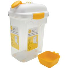 Flour/Sugar Container-Holds 5 Pounds by Wilton. $13.61. Brand New Item / Unopened Product. 21031092. 070896610928. Wilton. WILTON-Flour/Sugar Container. This container holds a 5-pound bag of either flour or sugar and features a handy dispenser pour spout. Measurements are marked on the side for easy viewing and it includes a measuring cup that conveniently stores under the lid. The lid snaps closed for secure leak-proof storage and the container base has a built-in handle for...