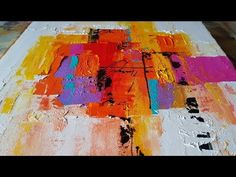 Demonstration of easy colorful abstract painting using palette knife technique in acrylics Abstract Painting Easy, Abstract Art, Abstract Landscape, Cuadros Diy, Palette Knife Painting, Hanging Art, Painting Techniques, Oeuvre D'art, Art Tutorials