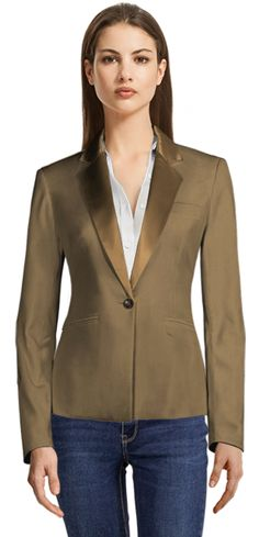 Brown Single Breasted Blazer with Sand Shiny Lapels Blazers For Women, Corduroy, Brand New, Wool, Chic, Brown, Casual, Fabric, Lapels