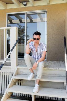 Striped short sleeve button down + khaki pants + sneakers