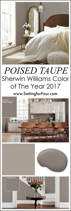 For your home: Looking for a paint color to paint your next room? See why I love Poised Taupe SW 6039 - Sherwin Williams Color of the Year 2017 and how it looks in real rooms! Taupe Paint Colors, 2017 Paint Colors Trends, Taupe Color Schemes, 2017 Decor Trends, Bedroom Paint Colours, Colors For Bedrooms, Playroom Paint Colors, Entryway Paint Colors, Home Trends 2017