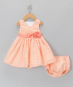 Look what I found on #zulily! Orange Gingham Dress & Diaper Cover - Infant, Toddler & Girls #zulilyfinds