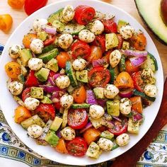 Avocado Salad with Tomatoes, Mozzarella, and Basil Pesto - healthy recipe packed with nutrients and lots of fresh ingredients! Small fresh Mozzarella cheese balls are delicious when combined with avocado Tomato Mozzarella Salad, Pesto Salad, Avocado Tomato Salad, Avocado Toast, Basil Pesto Recipes, Cucumber Recipes, Salad Recipes, Healthy Dinner Recipes, Cooking Recipes