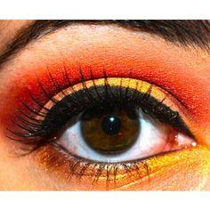 fire, yellow, red, orange, makeup, eyeshadow, eyeliner