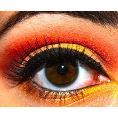 fire, yellow, red, orange, makeup, eyeshadow, eyeliner