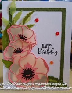 DH flirty flamingo vellum poppies by Cards and Paper Crafts at Splitco. - - DH flirty flamingo vellum poppies by Cards and Paper Crafts at Splitco… Birthday Theme DH flirty Flamingo Pergament Mohn von Karten und Papier Handwerk bei Splitcoaststampers Fun Fold Cards, Diy Cards, Diy Birthday, Birthday Cards, Birthday Sayings, Sister Birthday, Birthday Images, Tarjetas Stampin Up, Poppy Cards