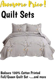 (This is an affiliate pin) Bedsure 100% Cotton Printed Full/Queen Quilt Set - Spring Blossom Floral Pattern, Pre-Washed, 3-Piece Quilt with 2 Shams - All-Season Bed Cover Machine Washable Bedspread Coverlet, Oyster Grey Spring Blossom, Queen Quilt, Quilt Sets, Bedspread, Bed Covers, 3 Piece, Quilts, Printed, Grey