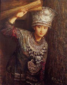 Vestido plata de chica Miao