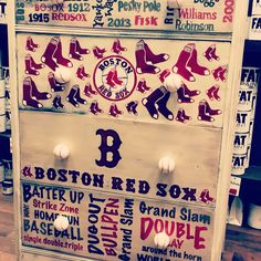 Custom REDSOX dresser by Mama's Treasures. Hand painted with FAT paint