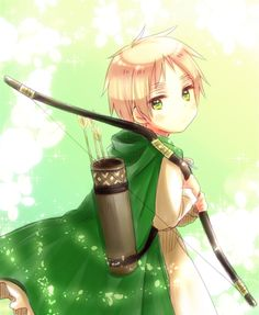 Chibi!England Oh may I please borrow that bow and quiver of arrows? Archery is so amazing. *smile*