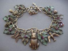 Charm Bracelet  Rabbit Bracelet  Rabbit by SilverTrumpetJewelry, $57.00