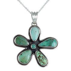 Carico Lake Turquoise Pendant Flower Necklace 3 16 by NewWorldGems