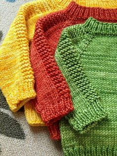 Pullover knit in one piece, in all baby, child and adult sizes.