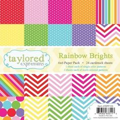 Taylored Expressions RAINBOW BRIGHTS 6x6 Paper Pack TEPP105 Preview Image